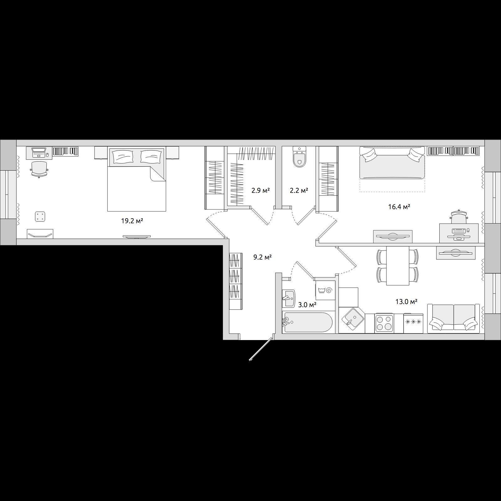 Планировка Двухкомнатная квартира площадью 65.94 кв.м в ЖК «ЦДС «Северные Высоты»»