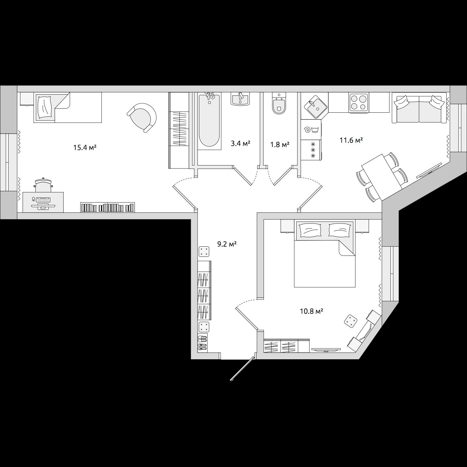 Планировка Двухкомнатная квартира площадью 52.2 кв.м в ЖК «ЦДС «Северные Высоты»»